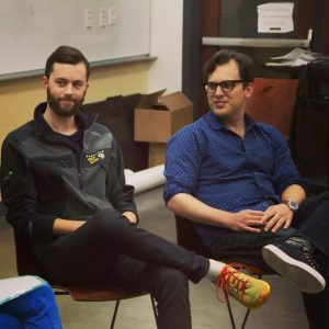 Instagram Co-Founder Mike Krieger (right) and Tommy Lee, parnter at Rothenberg Ventures. (Instagram photo by Eli Shell/STVP)